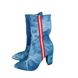 Simmi London Sz 9 Red Stripe Bleached Denim Boots